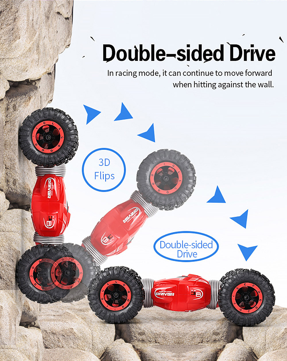 JJRC Q70 Twister Double-sided Flip Deformation Climbing Remote Control Car - Red Three batteries