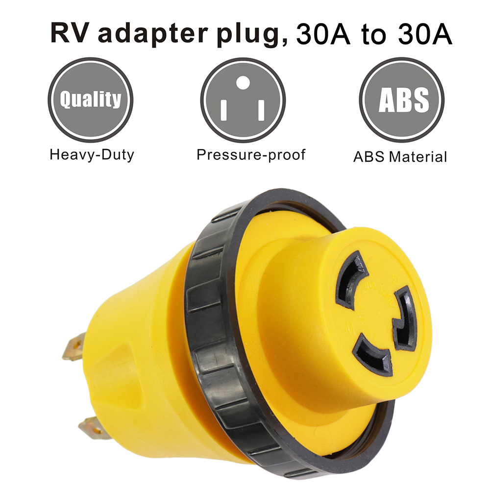 30A to 30A Power Switch Converter Plug Adapter Car Charger Male and Female Conversion for RV - Yellow