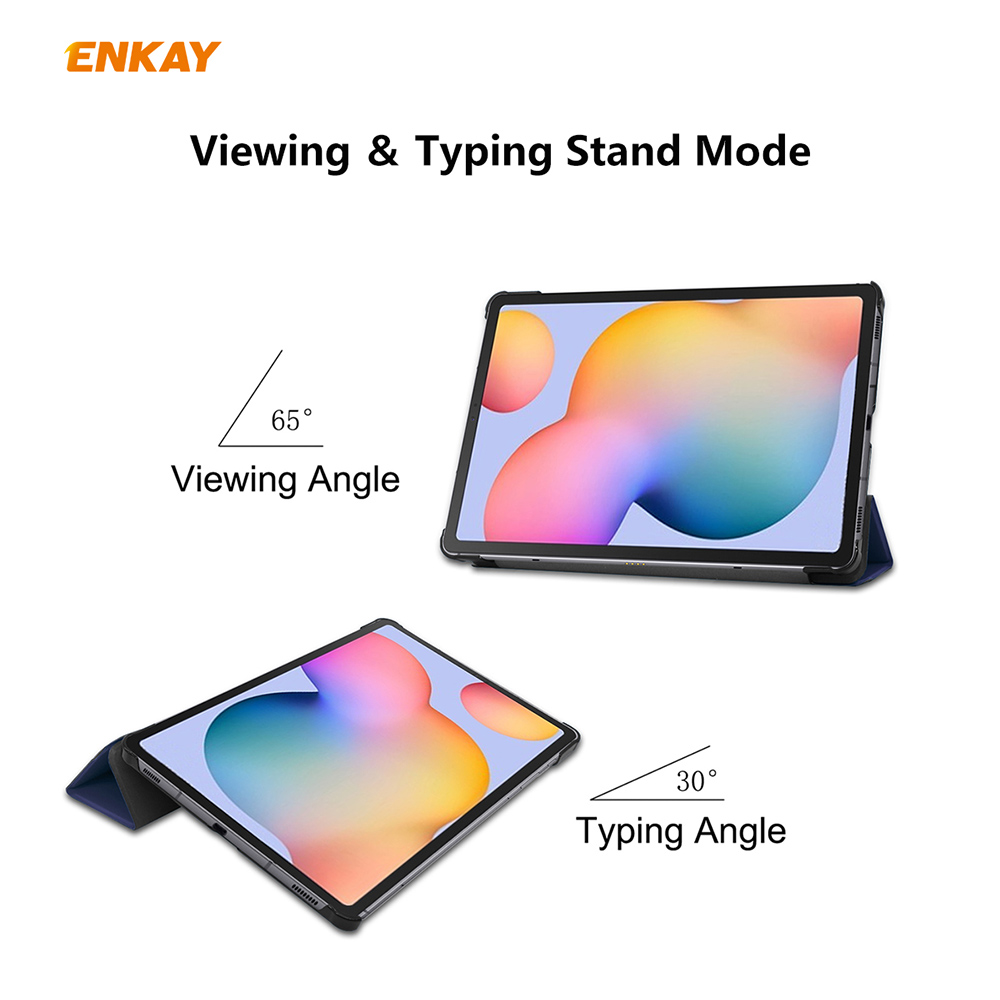 ENKAY ENK-8002 Plastic Bottom Protective Cover Case with Stand Function Intelligent Sleep Protective Cover for Samsung Galaxy Tab S6 Lite 10.4 P610 / P615 - Dark Green