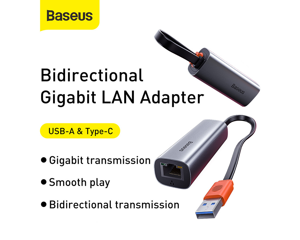 Baseus Steel Cannon Series USB A Gigabit LAN Adapter from Xiaomi Youpin - Dark Gray