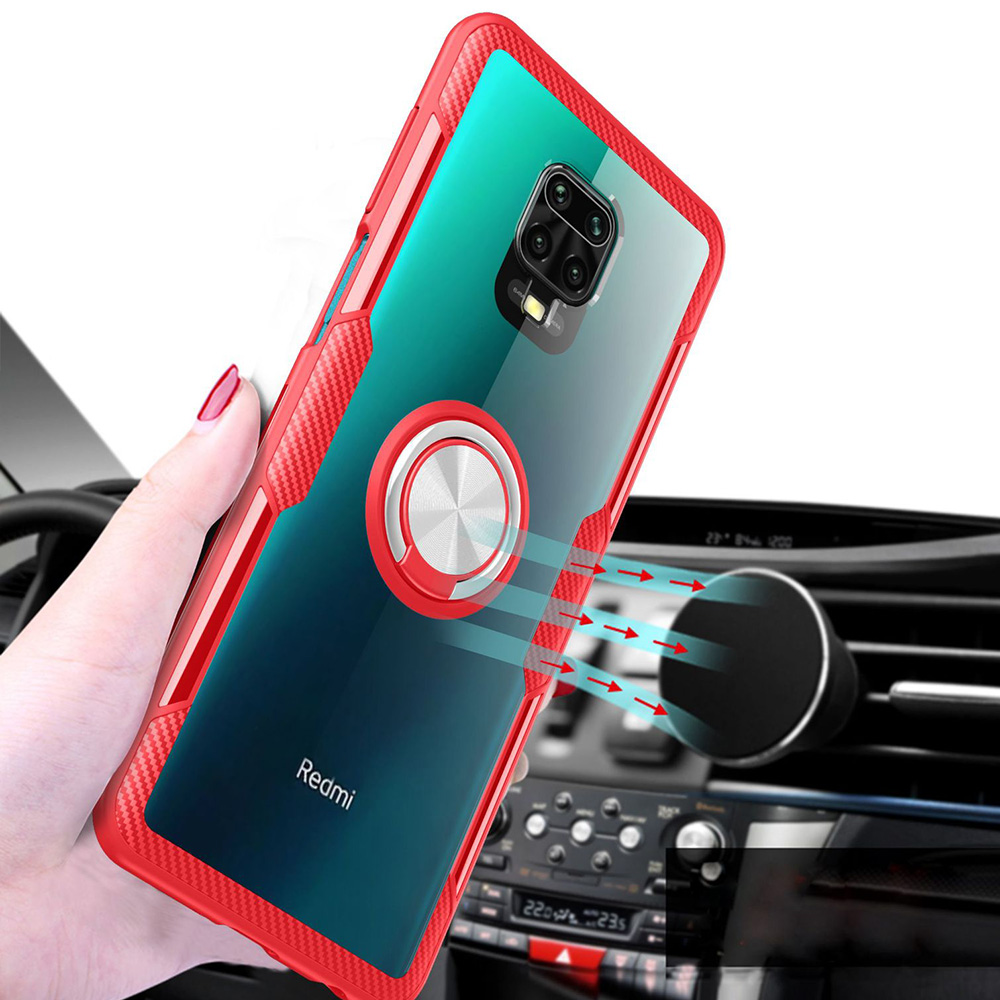 CHUMDIY Transparent Phone Case with Ring Holder for Xiaomi Redmi Note 9s/Pro Max - Red