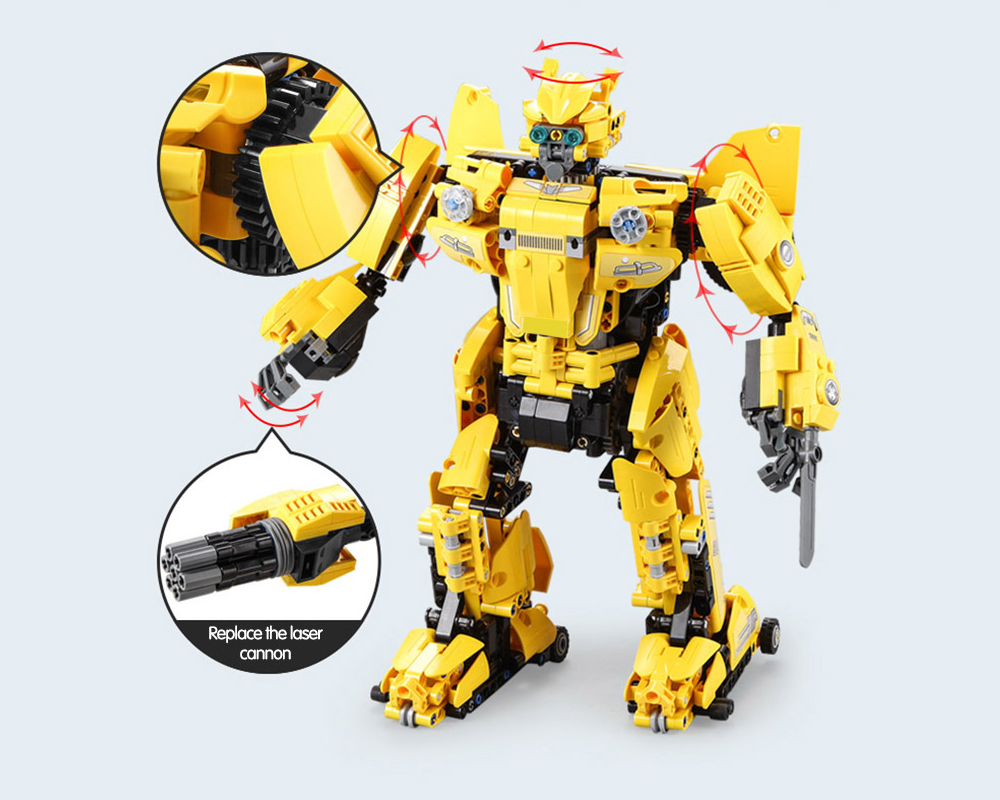 CaDA C51029W 2 in 1 Robot Building Blocks Remote Control Car Block Toy Set 1124pcs - Yellow