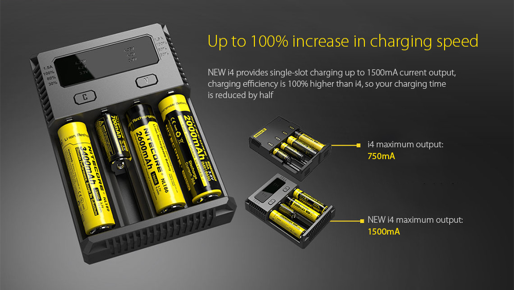 NITECORE NEW I4 Intellicharger Smart Battery Charger Case Up to 100% increase in charging speed