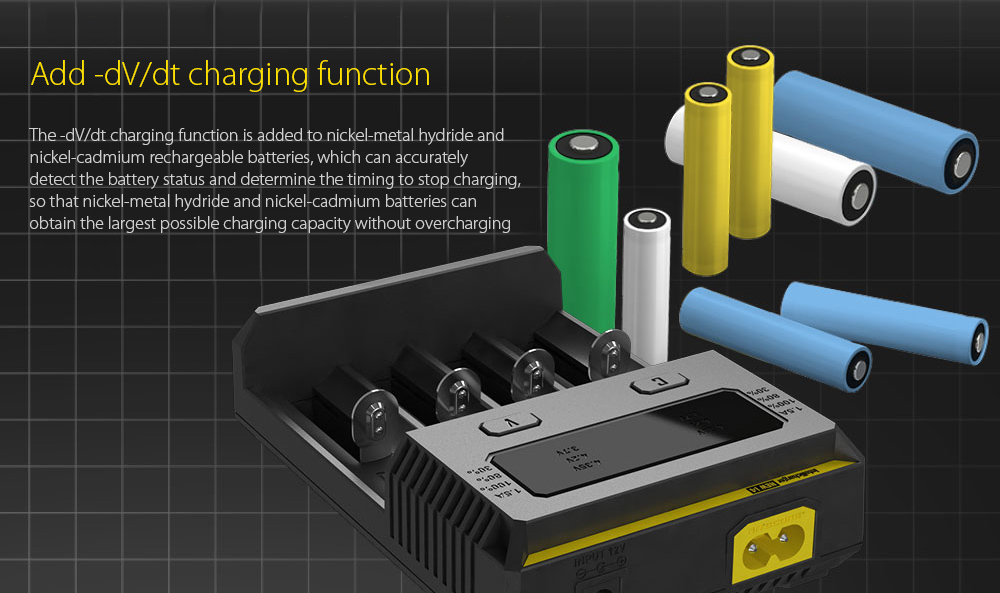 NITECORE NEW I4 Intellicharger Smart Battery Charger Case Add -dV/dt charging function