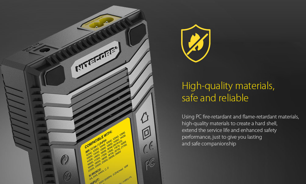 NITECORE NEW I4 Intellicharger Smart Battery Charger Case High-quality materials, safe and reliable