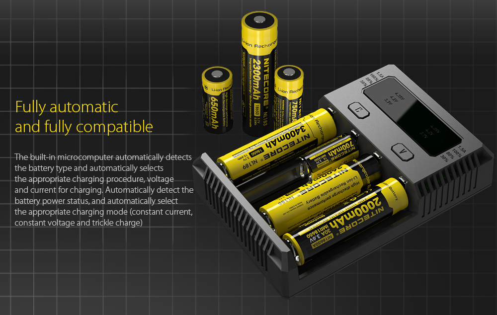 NITECORE NEW I4 Intellicharger Smart Battery Charger Case Fully automatic and fully compatible
