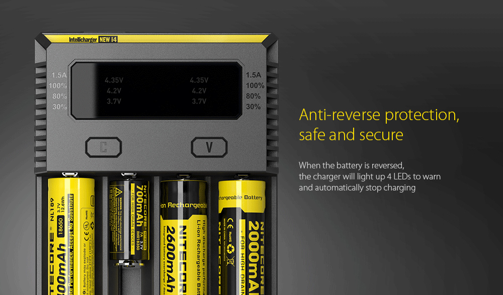 NITECORE NEW I4 Intellicharger Smart Battery Charger Case Anti-reverse protection, safe and secure