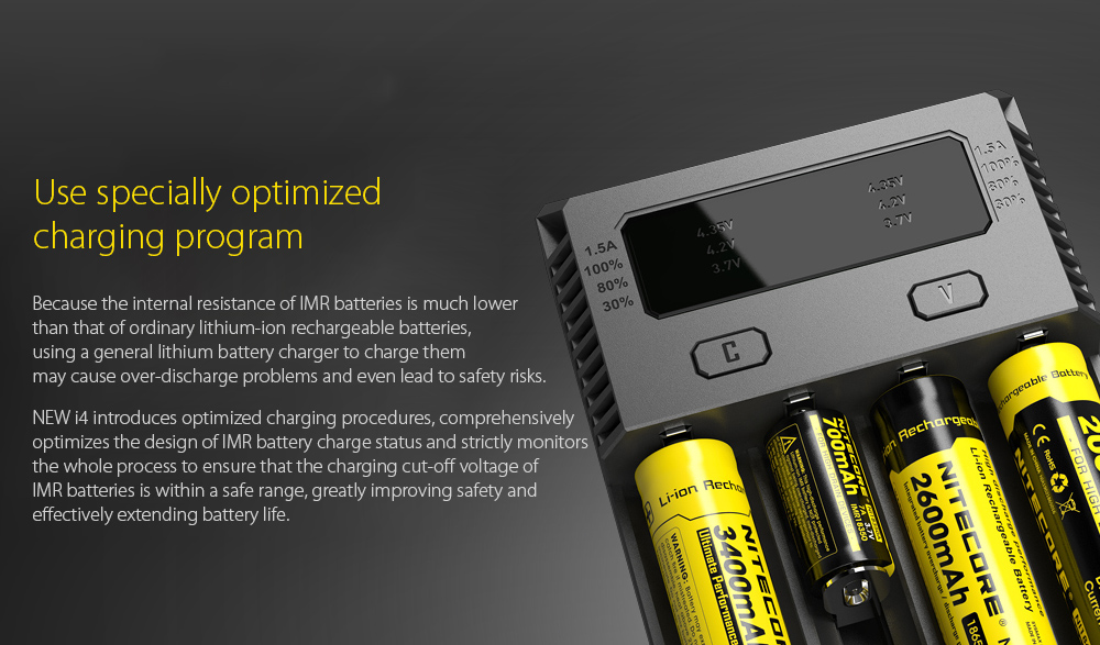 NITECORE NEW I4 Intellicharger Smart Battery Charger Case Use specially optimized charging program