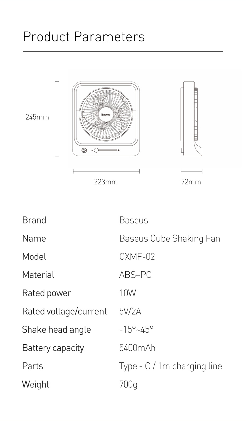Baseus CXMF-02 Desktop Fan Parameters
