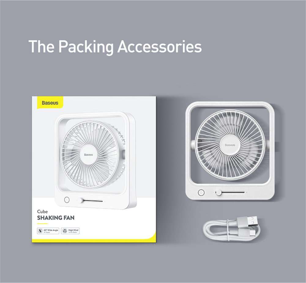Baseus CXMF-02 Desktop Fan The Packing Accessories