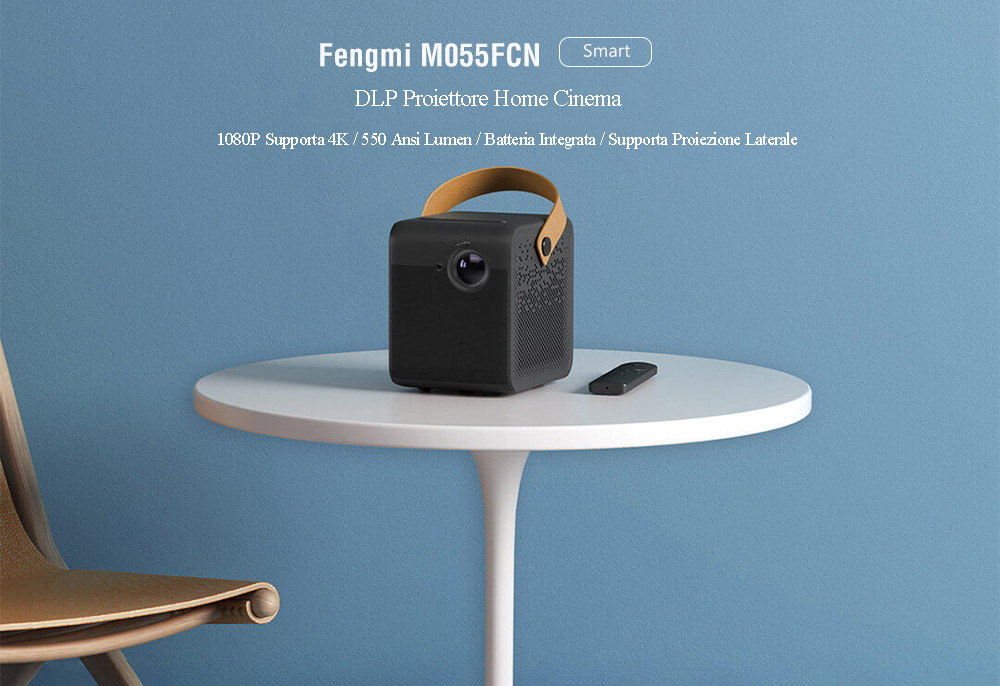 Fengmi M055FCN Smart DLP Home Entertainment Projector 1080P Support 4K / 550Ansi Lumens / Android / Support Side Projection / USB3.0 + HDMI ( Xiaomi Ecosystem Product ) - Black