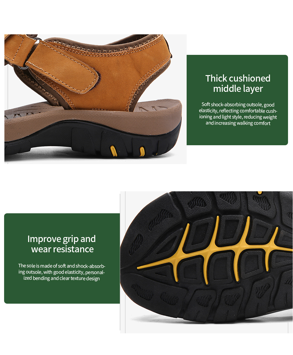 AILADUN Men Sandals Summer Outdoor Leisure Shoes Thick cushioned middle layer, Improve grip and wear resistance