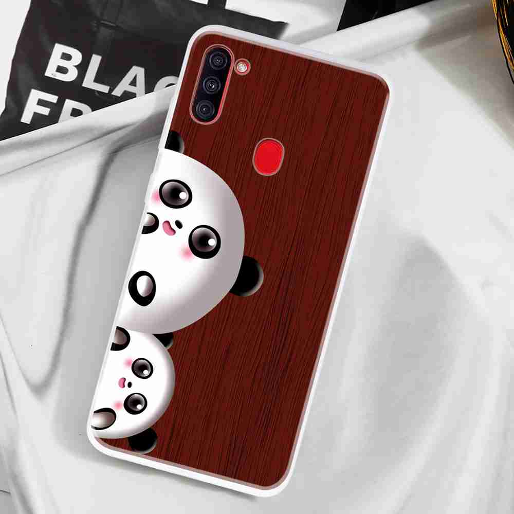 TPU Translucent Wood Grain Panda Phone Case for Samsung Galaxy A11/ M11 - Multi-D