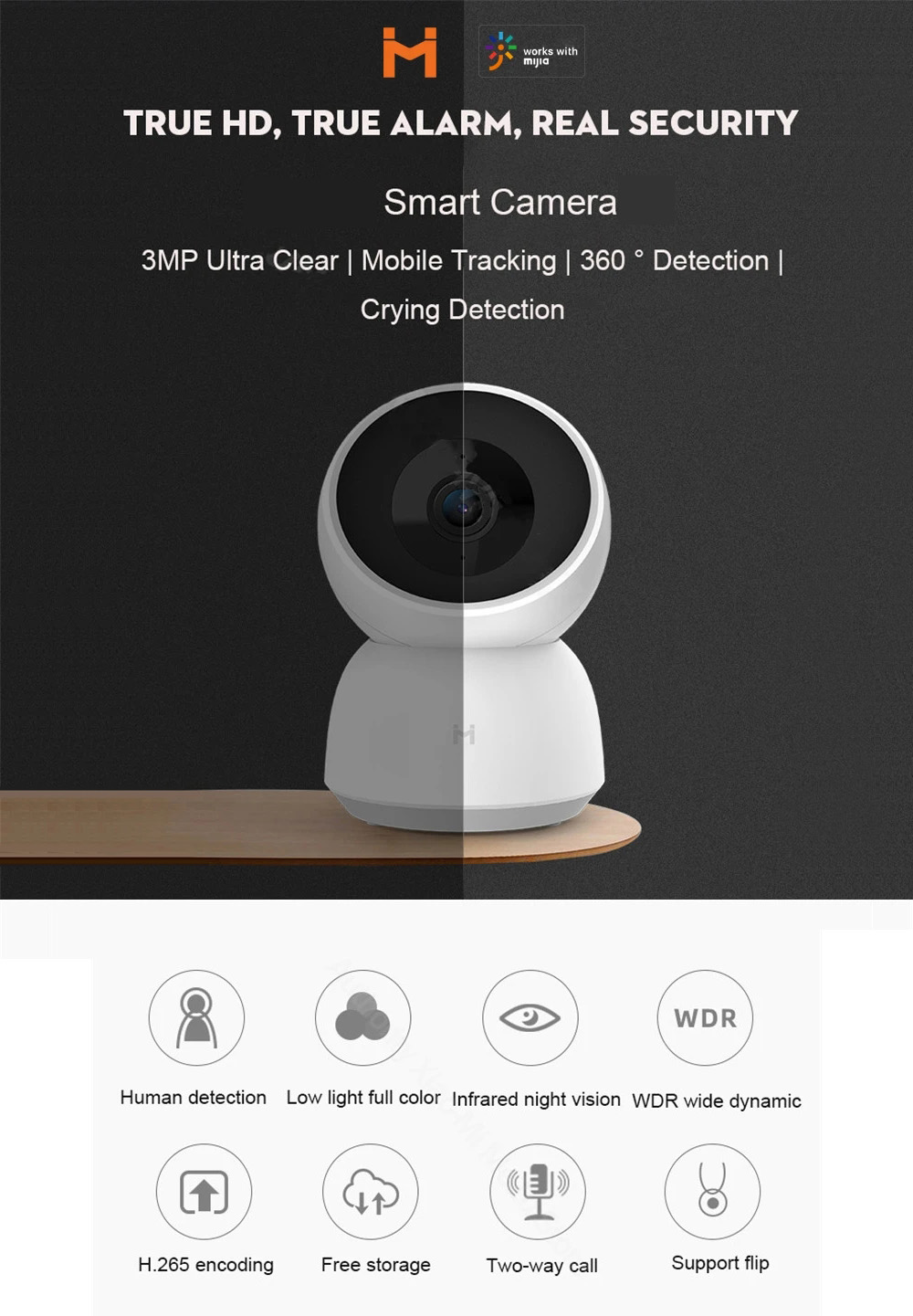 IMILAB A1 CMSXJ19E Smart IP Camera 3MP 1080P 360° PTZ IR Night Vision Home Security Baby Cry Monitor Global Version - White UK Plug