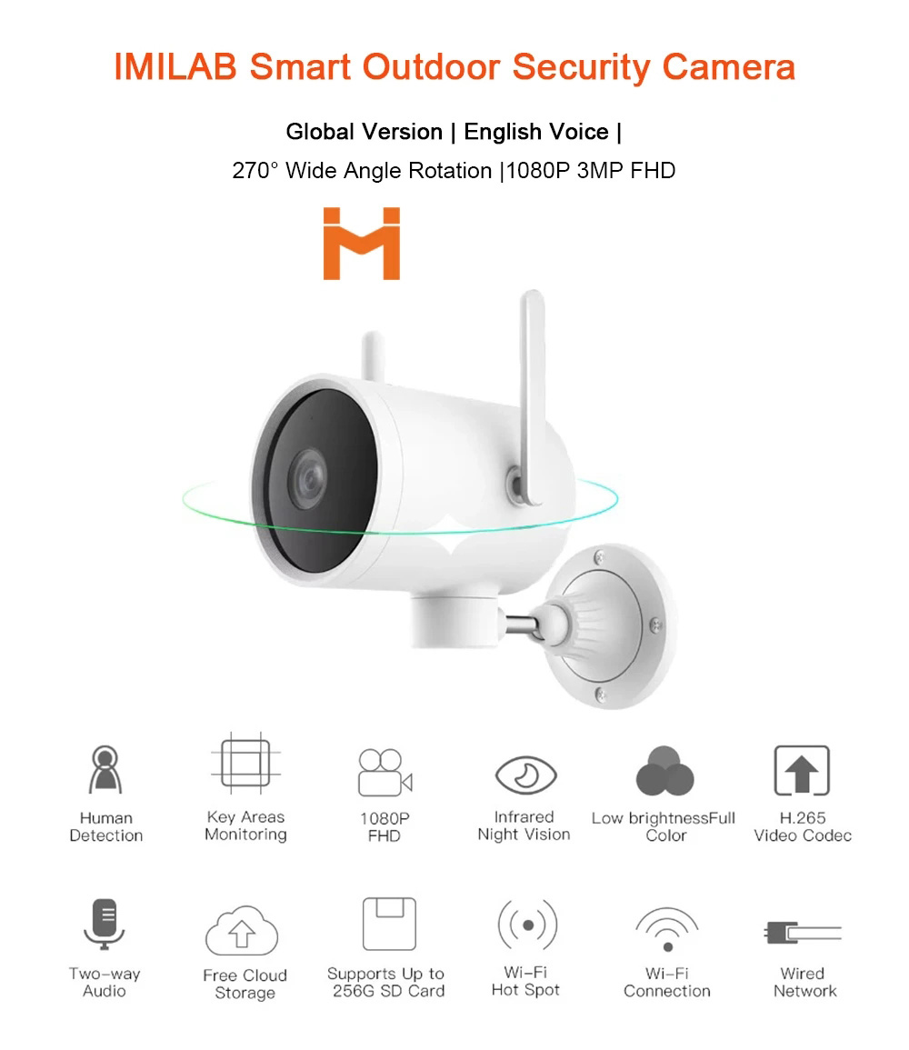 IMILAB EC3 Outdoor Smart IP Camera Mijia APP Remote Control Two-way Audio Night Vision 2.4Ghz Wifi Indoor Home Dome Camera for Pet Baby Global Version - White AU Plug