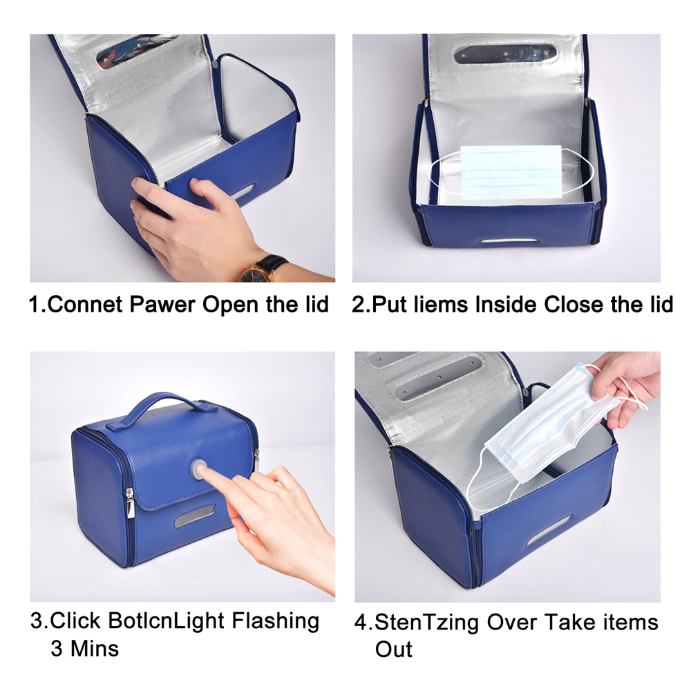 SX-11-1 Home Travel Portable LED UV Sterilization Bag Disinfection Package 6L - Navy Blue