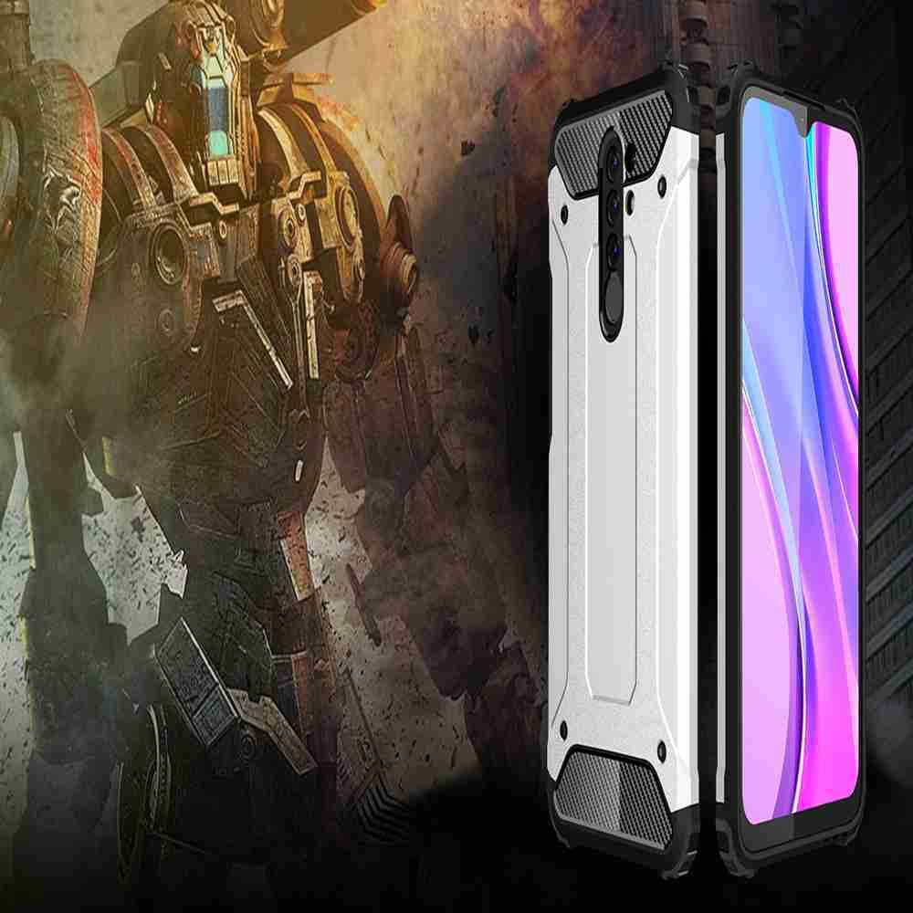 PC+TPU Gold Steel Armor Phone Case for Xiaomi Redmi 9 - Rose Gold