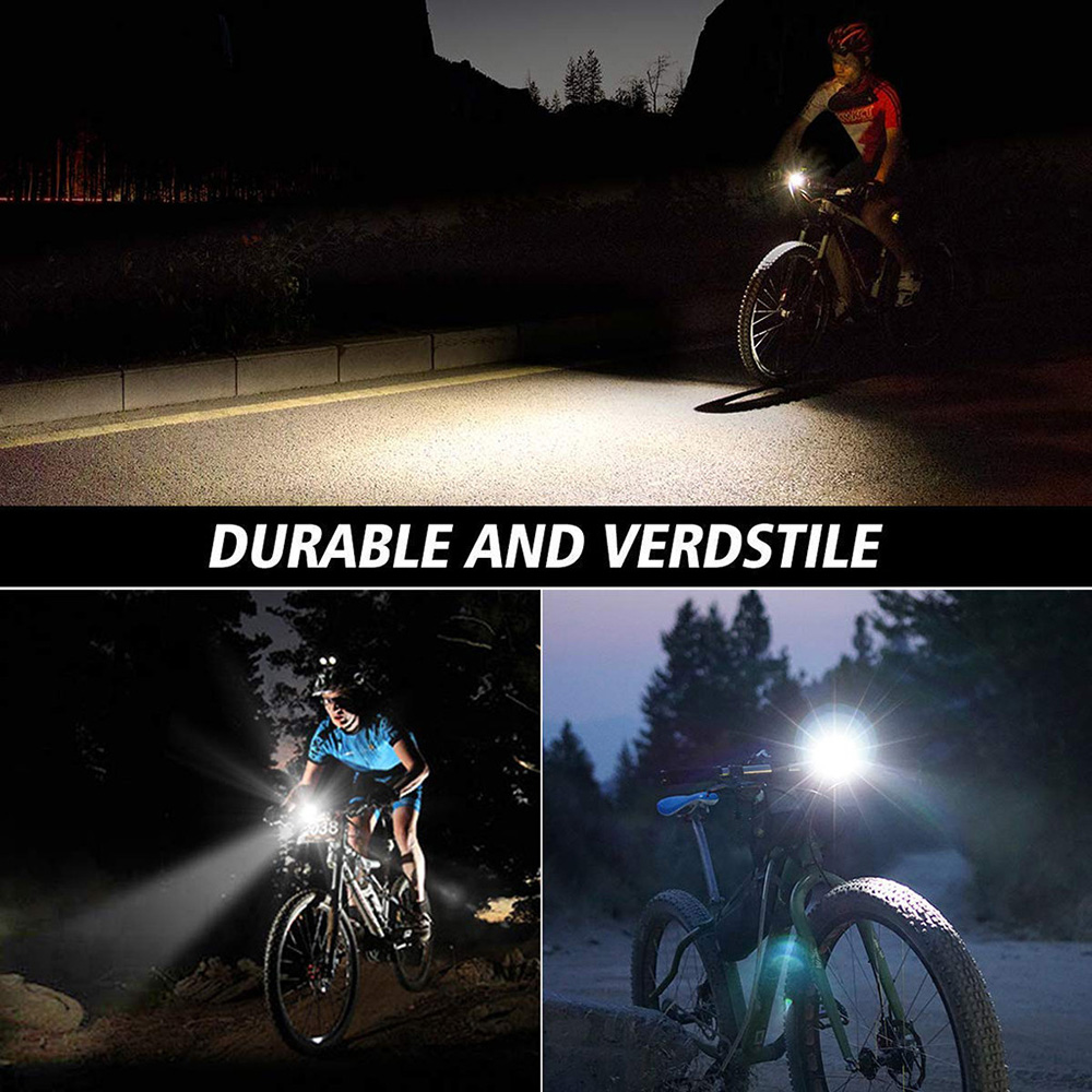 LED Mountain Bike USB Waterproof Bike Light Bicycle Headlight Taillight Set Cycling Accessories - Black