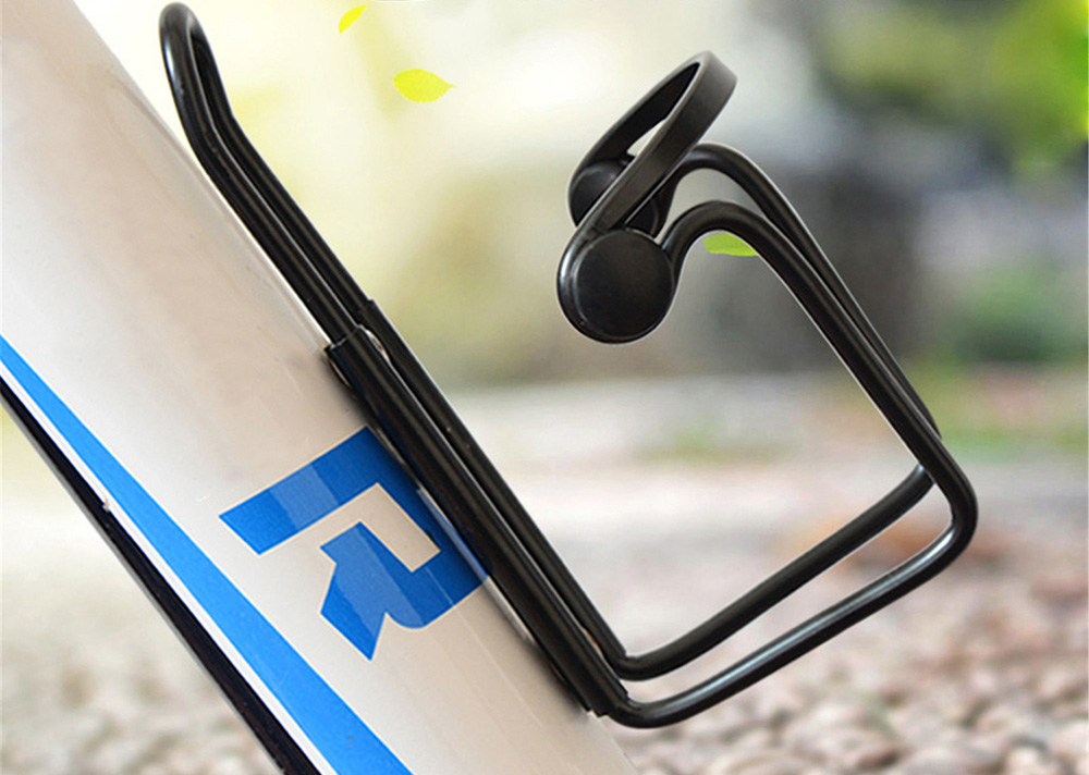 Bicycle Kettle Cage Riding Equipment Bicycling Accessories Mountain Bike Double Bead Aluminum Alloy Water Cup Bottle Holder - Black