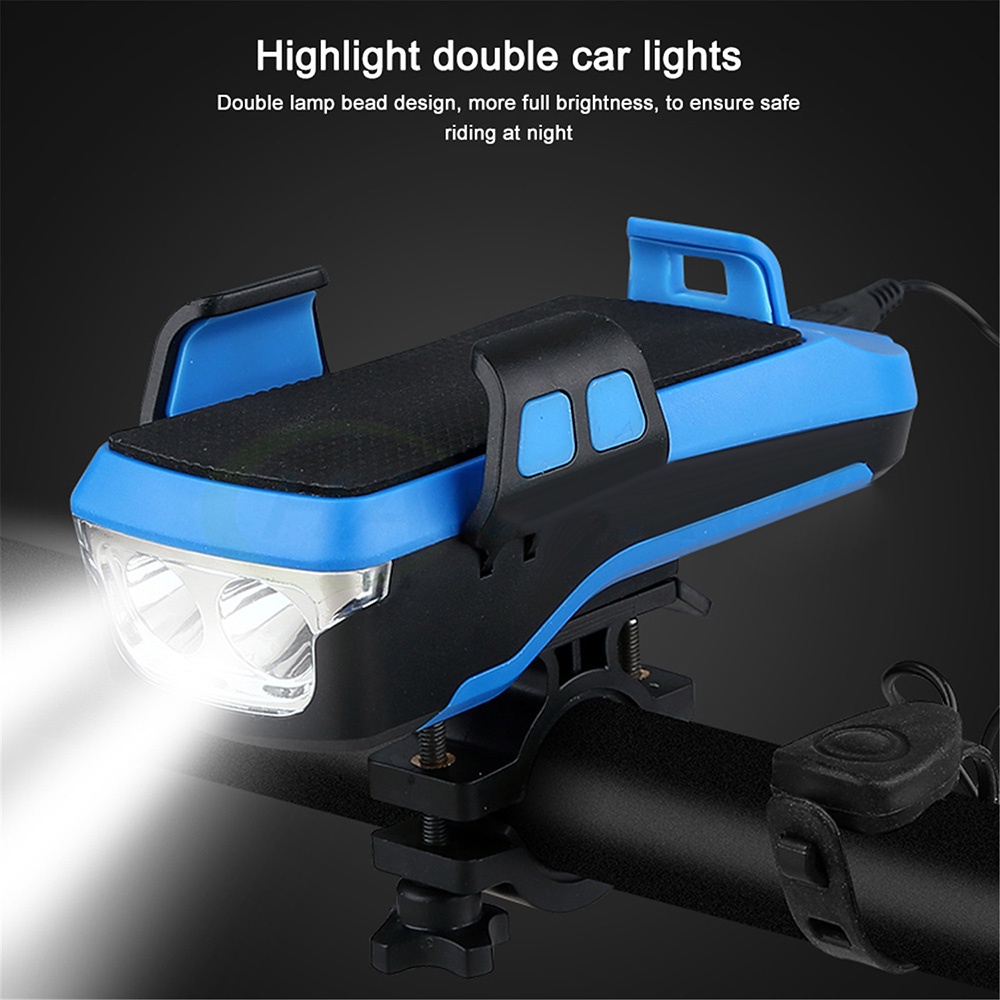 Bicycle Headlight Front Light USB Charging with Mobile Phone Holder Bike Horn Lamp Safety Warning Lights Riding Equipment 2400mAh - Blue