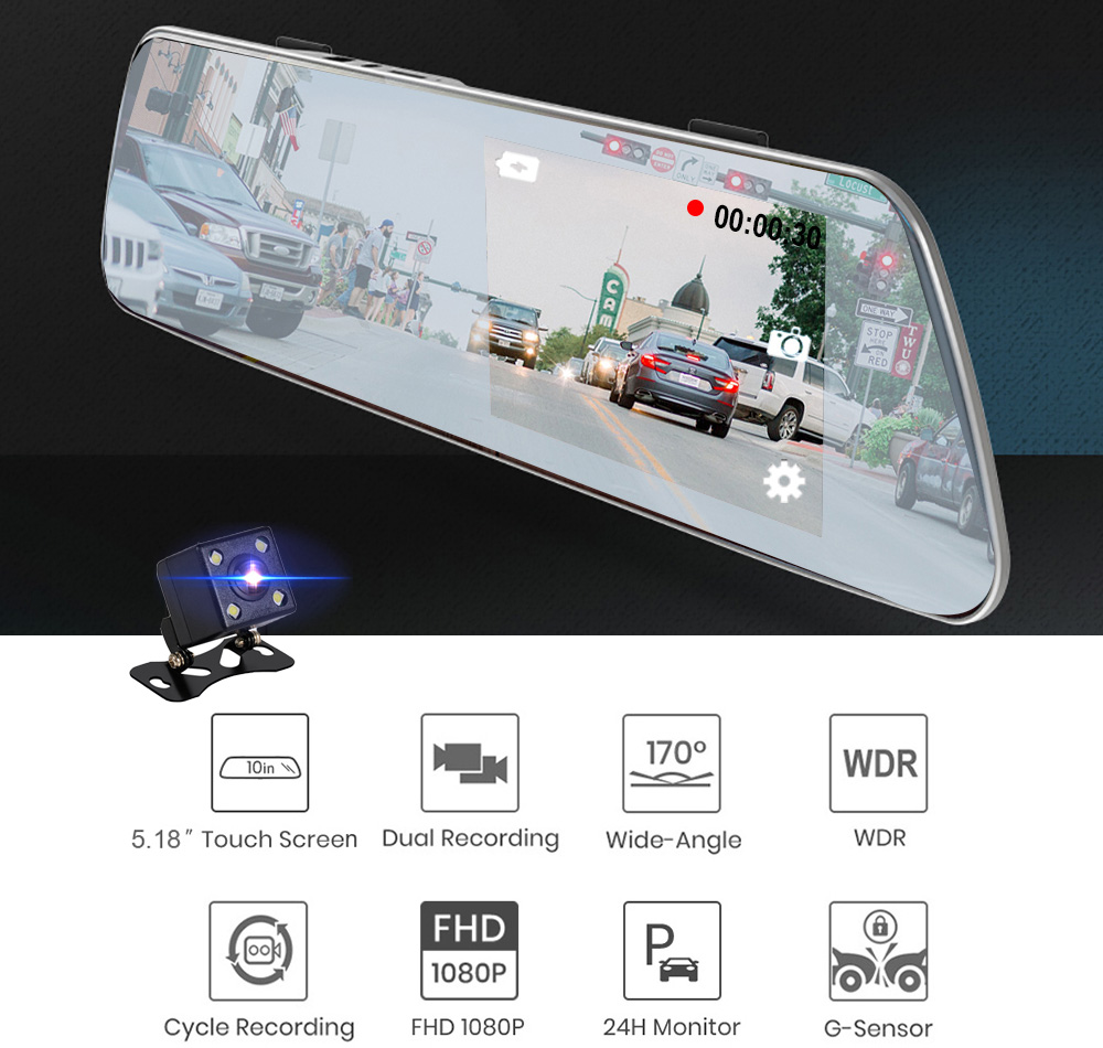 5.18 inch Car DVR Driving Recorder HD Touch Screen Dual Camera with Reverse - Multi