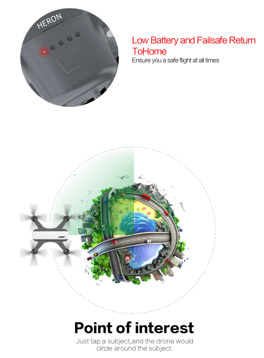 JJRC X9PS Upgraded Heron GPS 5G WiFi FPV with 4K HD Camera Optical Flow Positioning 249g RC Drone Quadcopter RTF - White 1 Battery with Color Box