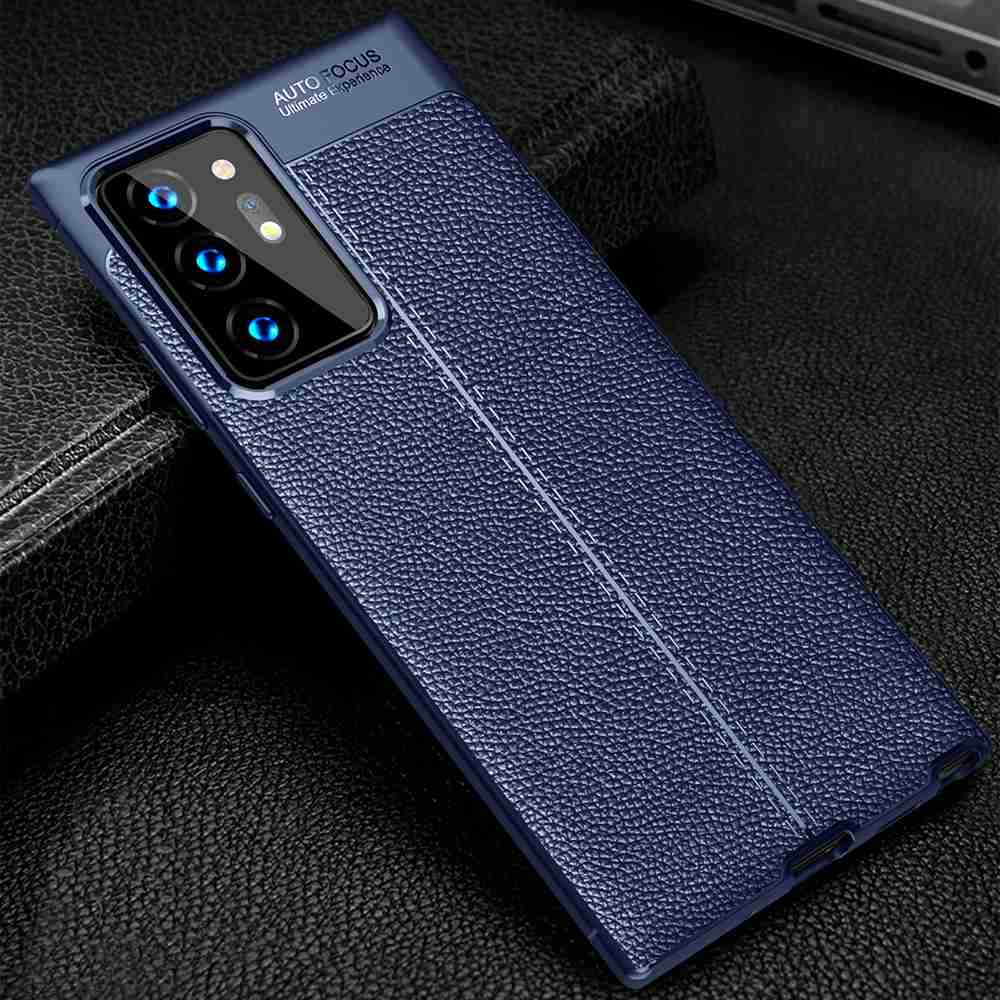 Leather Texture Carbon Fiber Phone Case for Galaxy Note 20 plus - Cadetblue