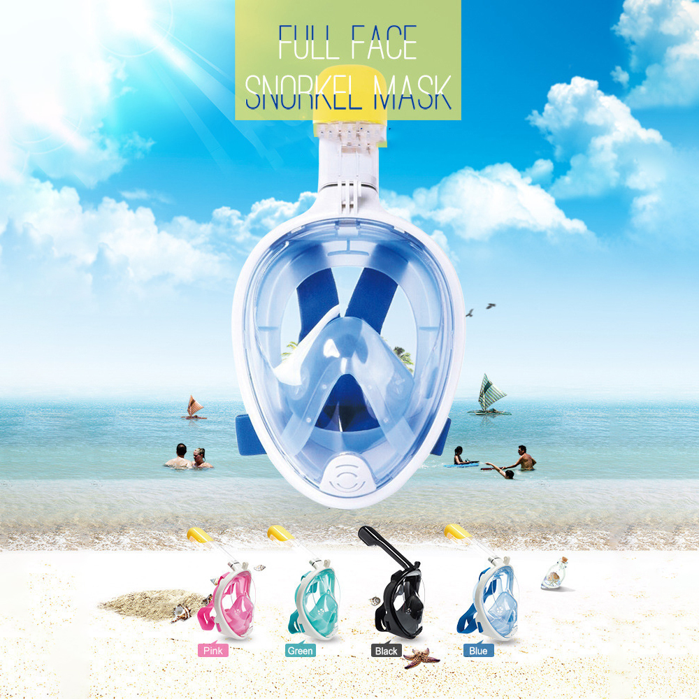 Summer Explosion Models Swimming Glasses, Diving Mask Mask All Dry Silicone Snorkeling Mask - Blue L/XL