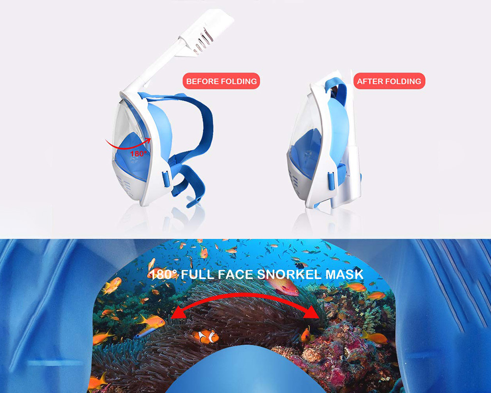 Summer Explosion Models Swimming Glasses, Diving Mask Mask All Dry Silicone Snorkeling Mask - Blue S/M