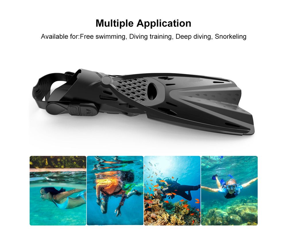 Swimming Fins Adult Men and Women Professional Diving Long Flippers Suit Snorkeling Supplies Swim Shoes Equipment - Black S/MD