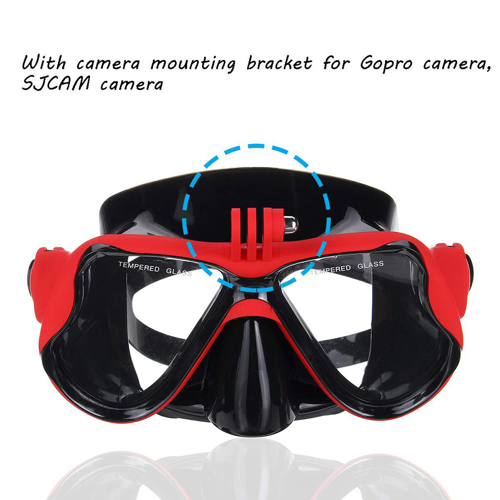 Tempered Glass Goggles Breathing Tube Snorkel Set Adult Scuba Half Face Diving Mask with Gopro Camera Bracket - Yellow