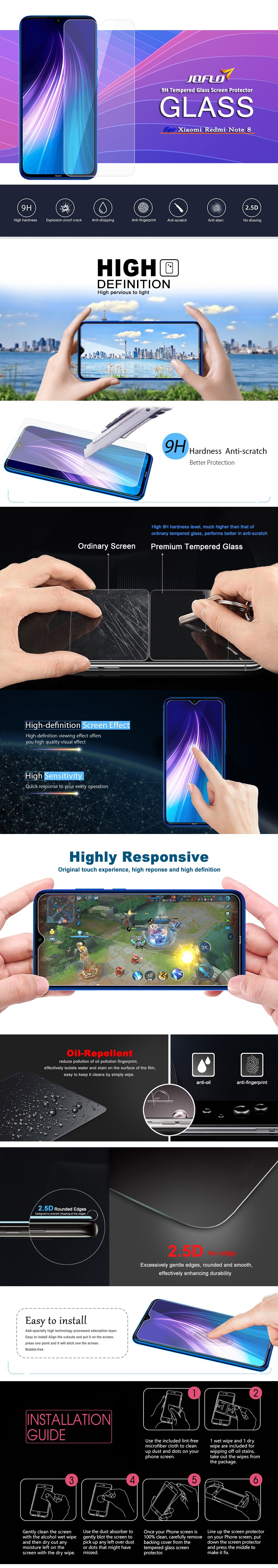 9H Tempered Glass Screen Protector Film + Lens  Film for Xiaomi Redmi Note 8 - Transparent 1pc