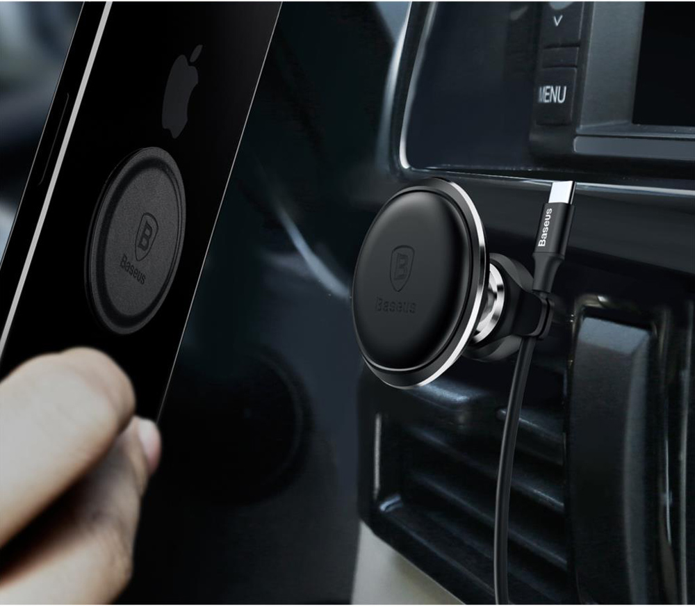 Baseus SUGX-A01 Magnetic Air Vent Car Mount Bracket Holder with Cable Clip - Black