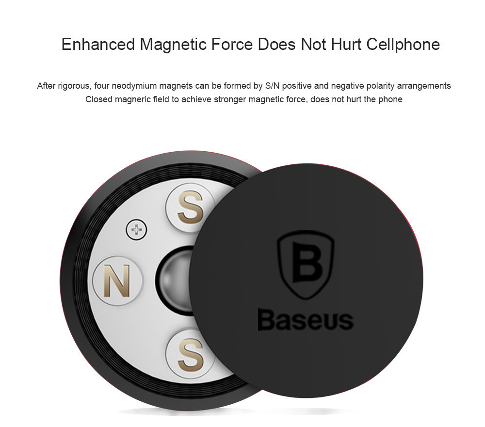 Baseus SUGENT-NT0S Magnetic Car Phone Holder for iPhone Xs Max X Samsung S10 Magnet Mount - Silver