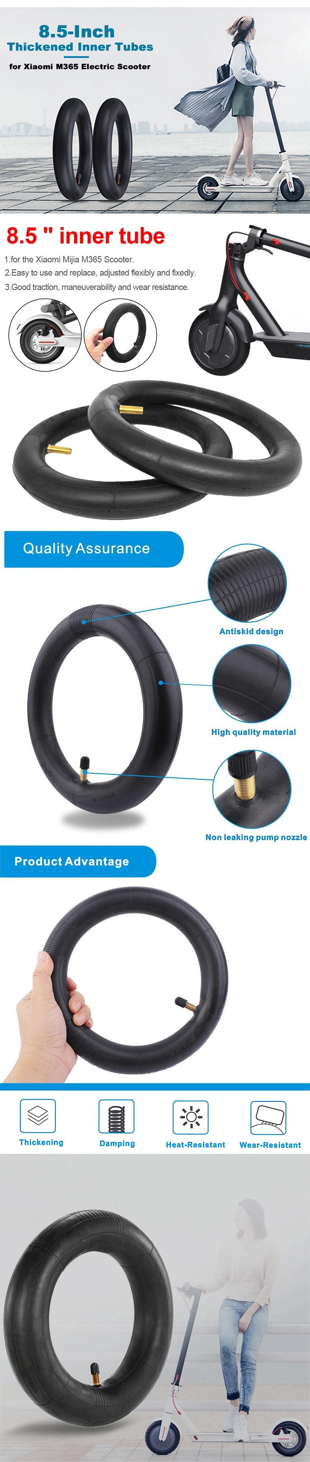 Inner Tubes Pneumatic Thickened Tires for Xiaomi Mijia M365 Electric Scooter - Black 1pc