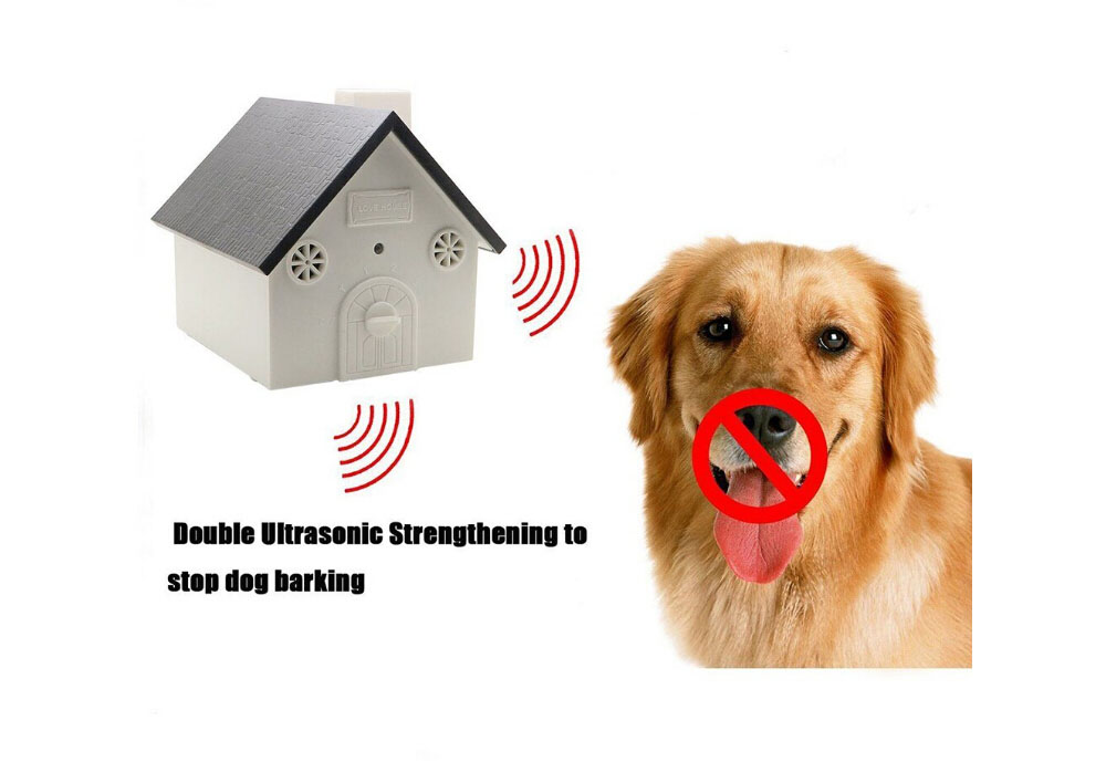 Dog Bark Control Stop Barking Device Ultrasonic Anti-Bark Automatic Outdoor Dog Training Tool and Sonic Bark Stopper Pet Supply - White