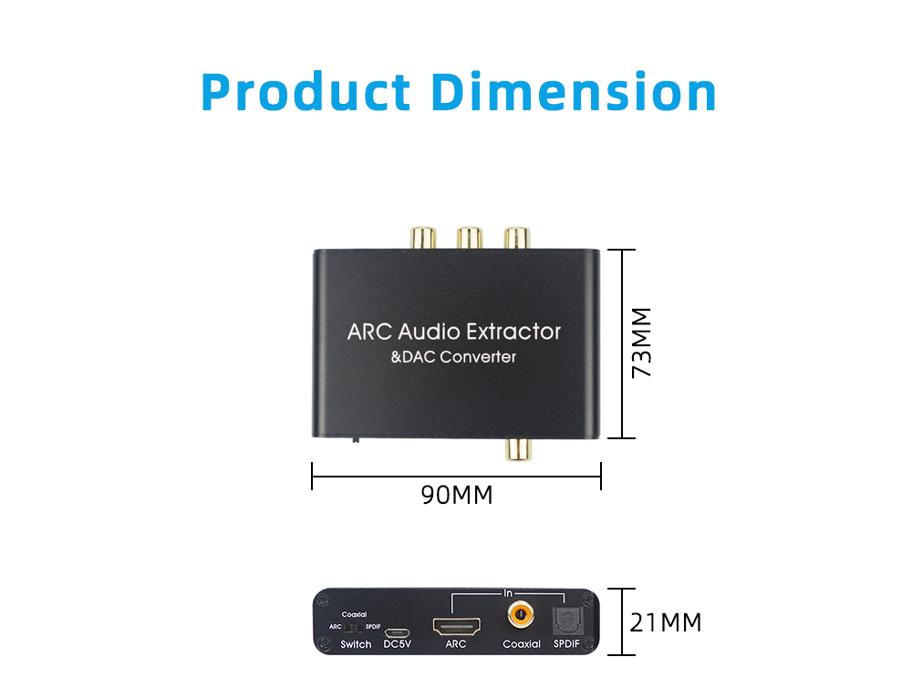 AY80 Pro HDMI ARC Audio Return Converter DAC Audio Extractor - Black