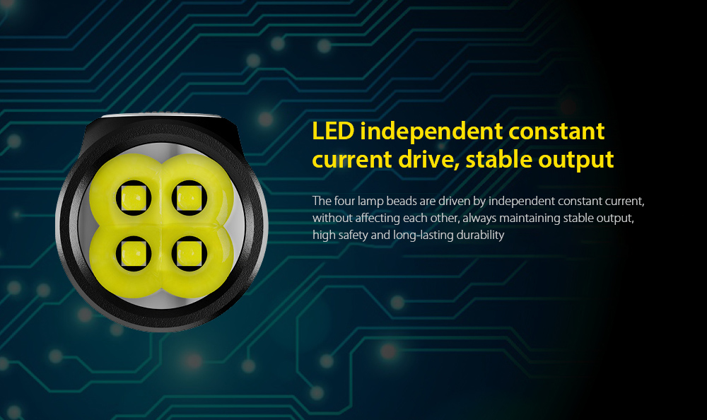 NITECORE E4K Flashlight LED independent constant current drive, stable output