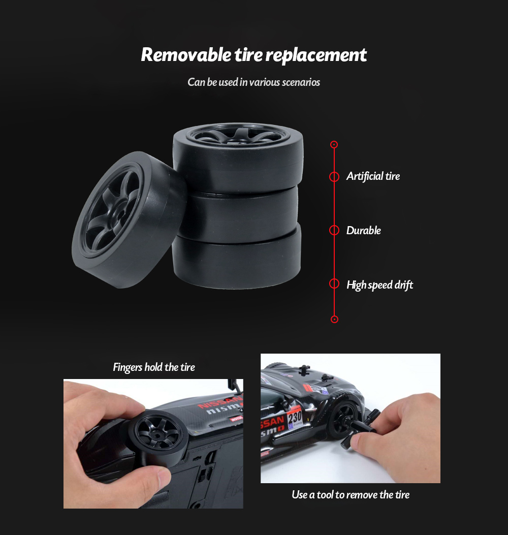 1:16 2.4G High Speed Drift Remote Control Car Removable tire replacement