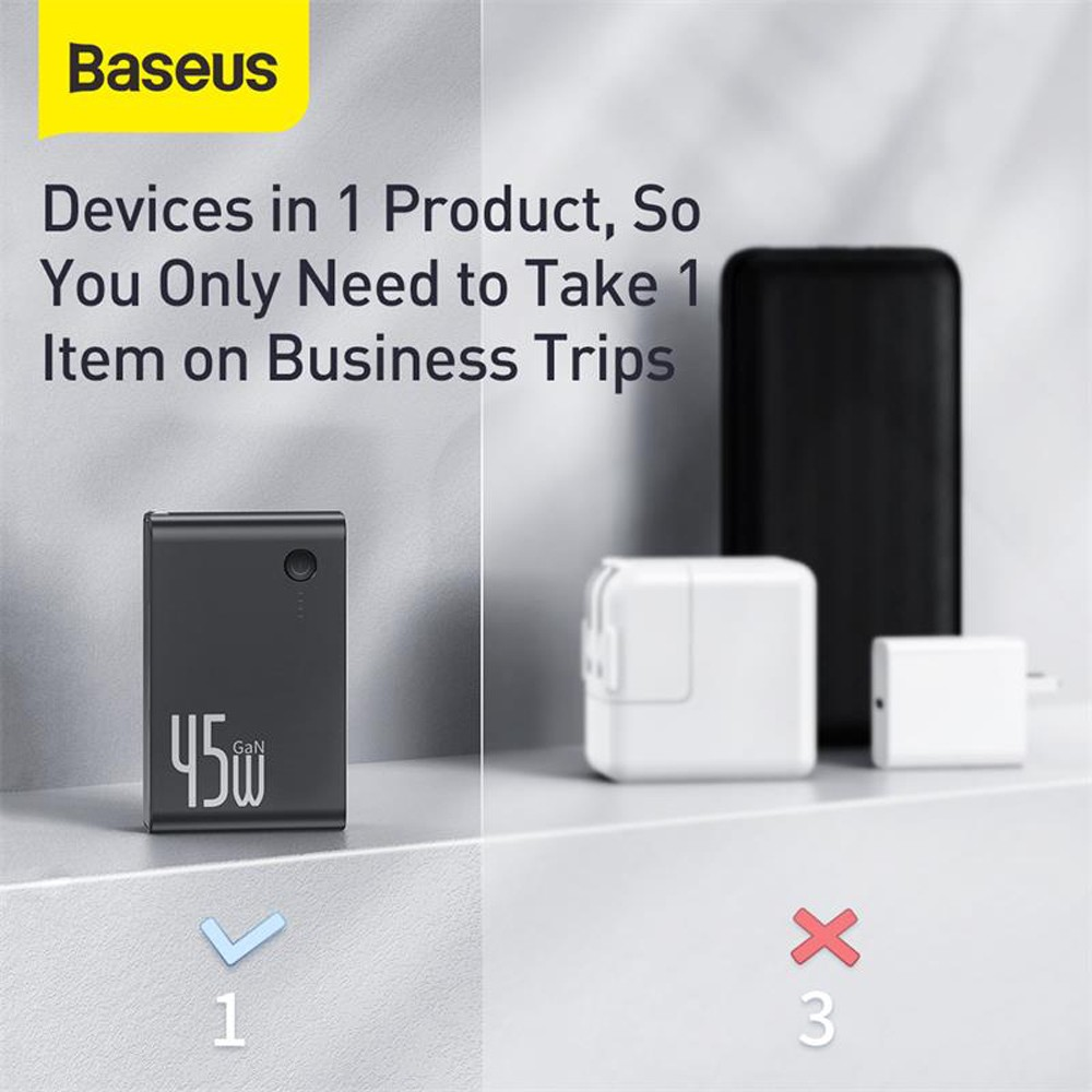 Baseus Power Station (GaN) 2-in-1 Quick Charge Power Bank Charger C + C 10000mAh 45W (Including Fast Charging Cable Type-C to Type-C 60W (20V / 3A) 1m - Black US Plug