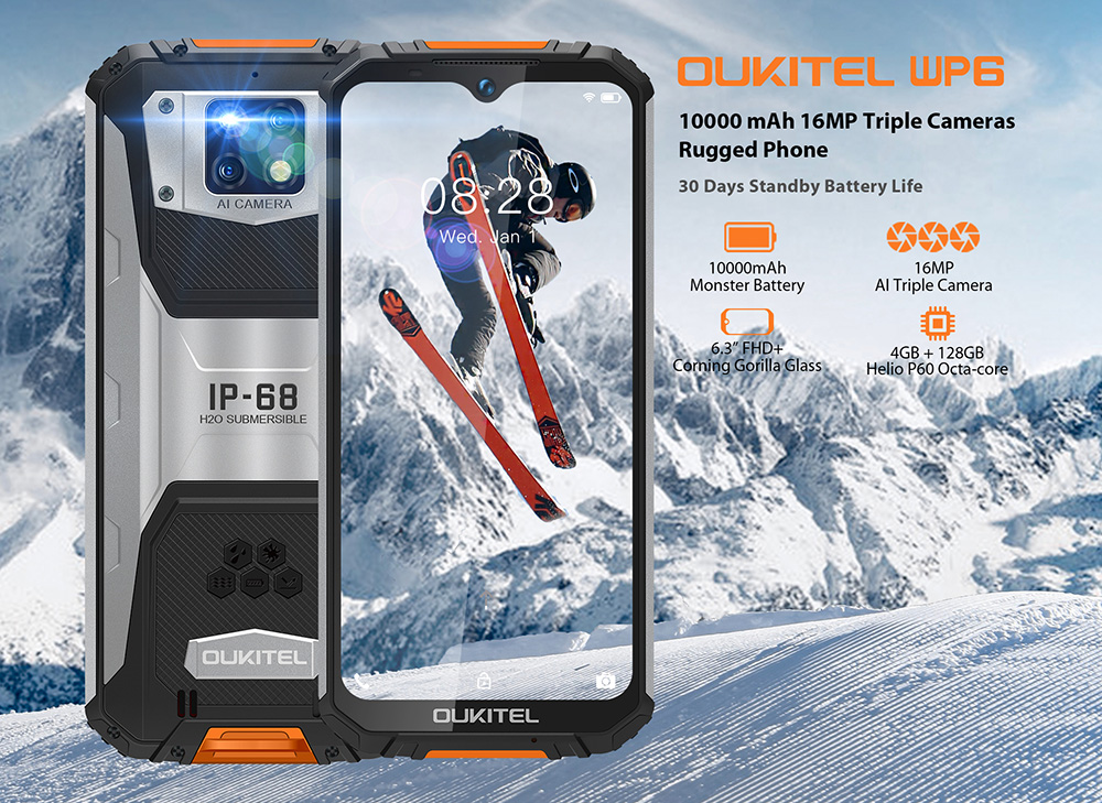 OUKITEL WP6 4G Smartphone 10000mAh Battery Global Version - Black Standard Edition