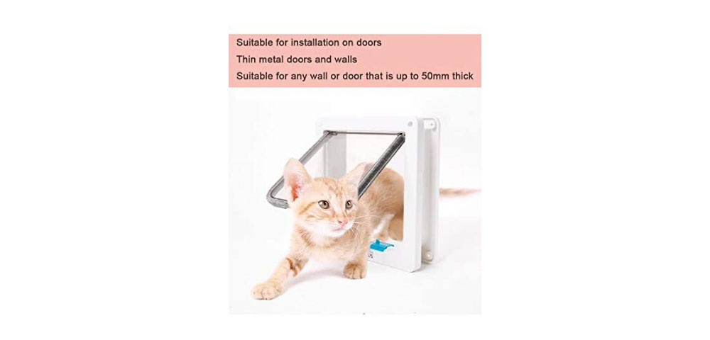4-Way Locking Pet Cat Door Dog Hole Cats and Small Dogs Indoor / Outdoor with Telescopic Frame - White L