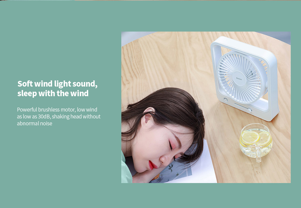 Baseus CXMF-02 Shaking Fan Soft wind light sound, sleep with the wind