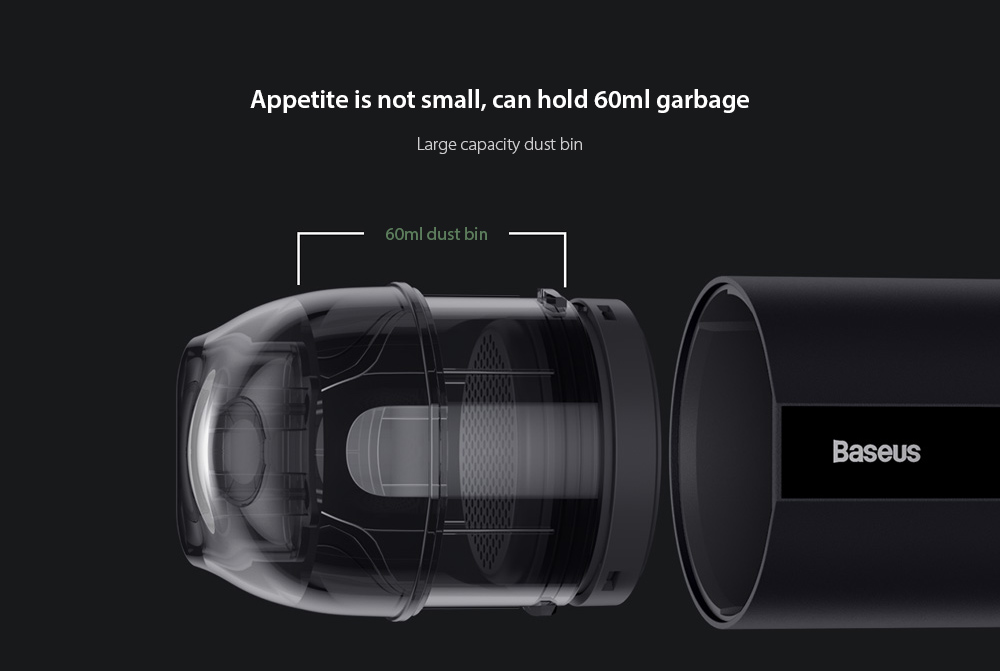 Baseus CRXCQA2 Mini Car Vacuum Cleaner Appetite is not small, can hold 60ml garbage