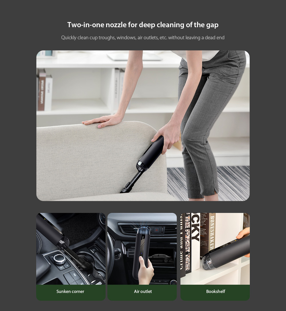 Baseus CRXCQA2 Mini Car Vacuum Cleaner Two-in-one nozzle for deep cleaning of the gap