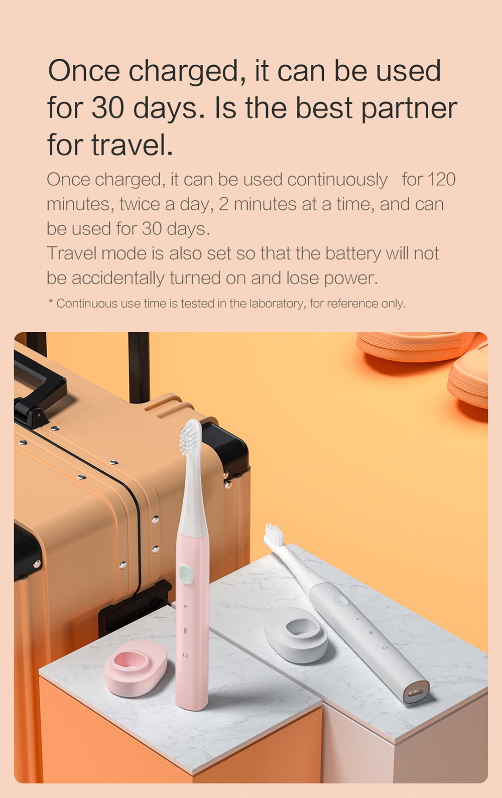 PT01 Electric Toothbrush Once charged, it can be used for 30 days. It is the best partner or travel