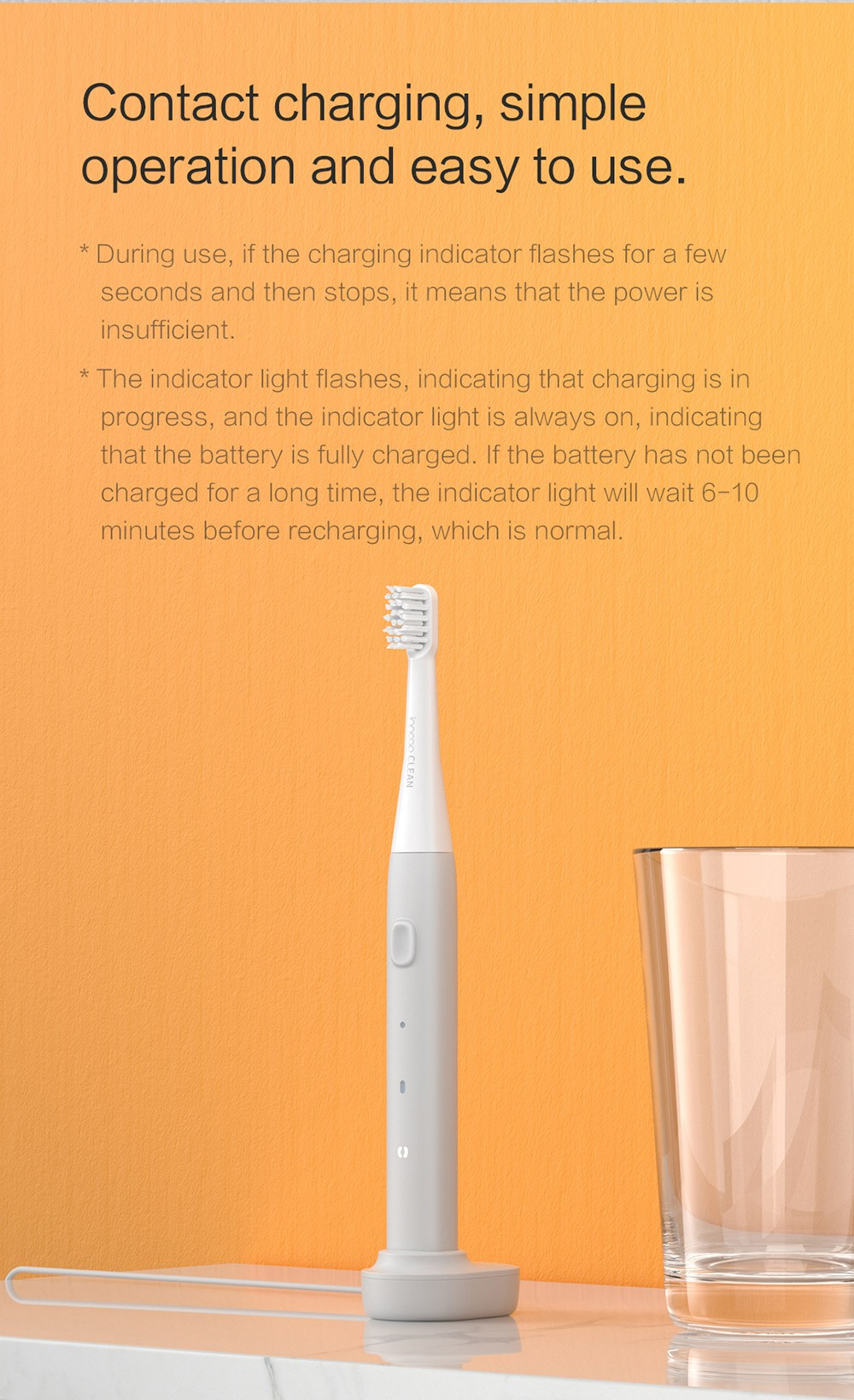 PT01 Electric Toothbrush Contact charging, simple operation and easy to use