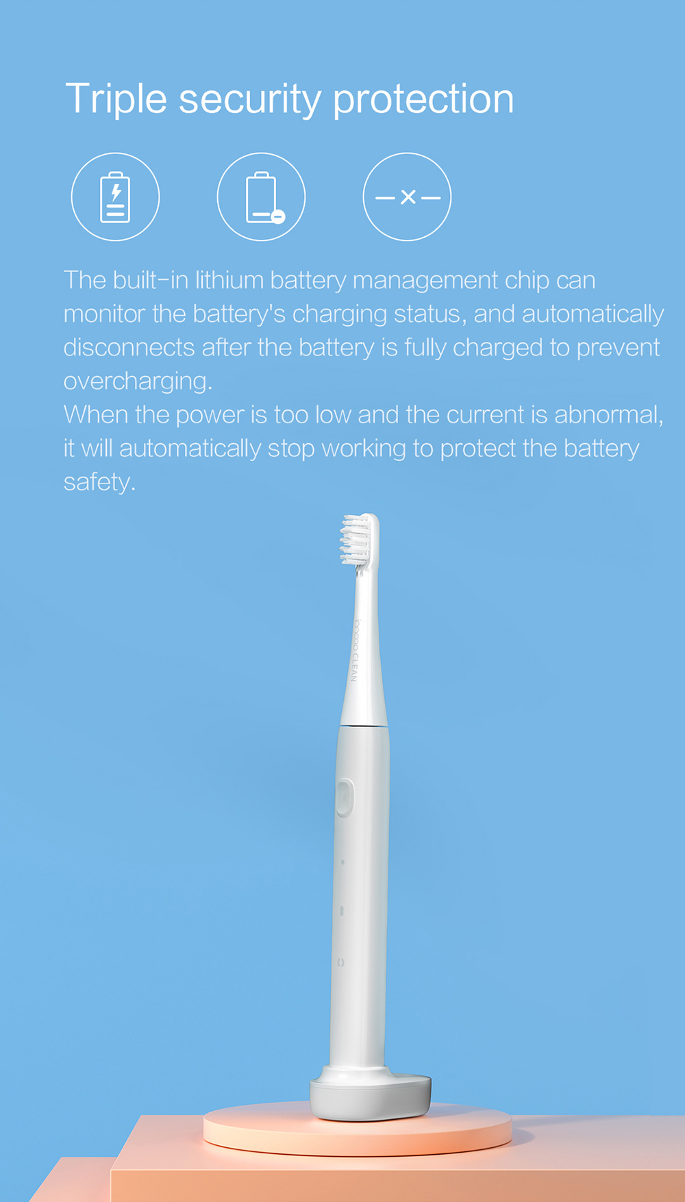 PT01 Electric Toothbrush Triple security protection