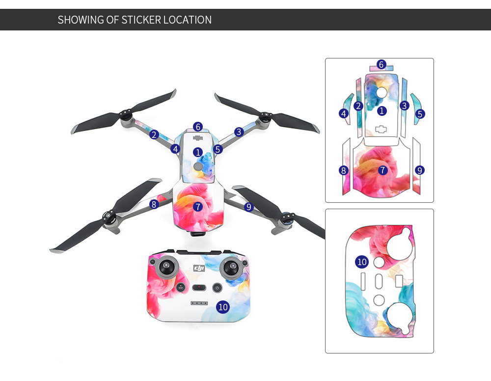 STARTRC PVC Sticker Set Body + Remote Control + Battery for DJI Mavic Air 2 - Multi-C
