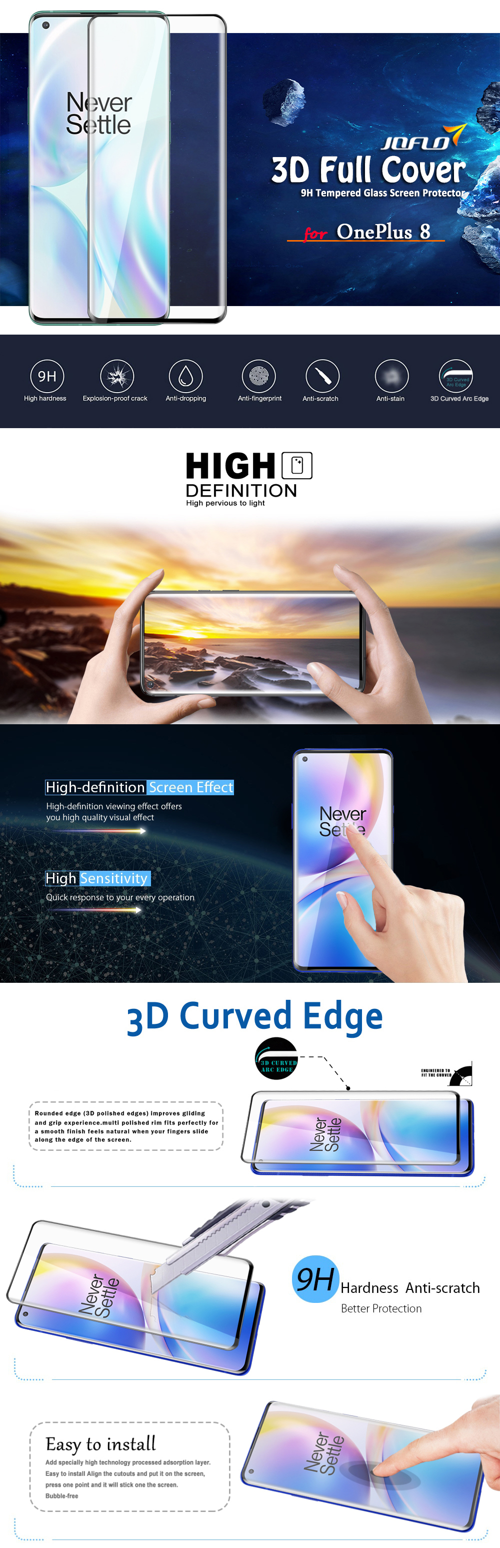 JOFLO 3D  Curved Full Screen Tempered Glass  Film for OnePlus 8 - Black 1pc
